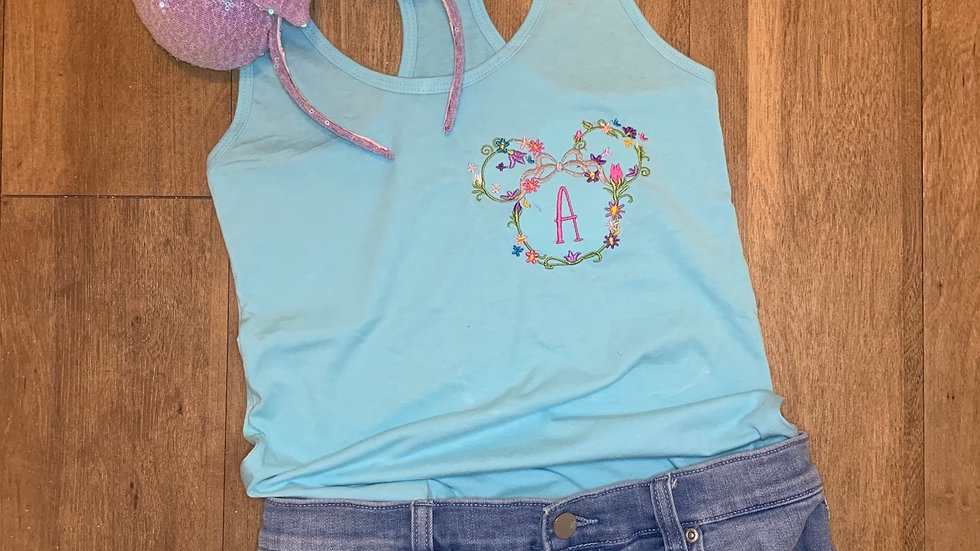 Floral Minnie - Monogram optional embroidered t-shirt or tan
