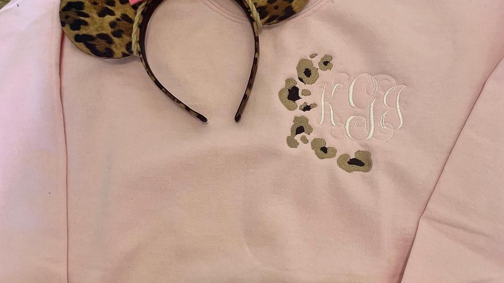 Leopard Monogram embroidered hoodie, pullover, 1/4 zip