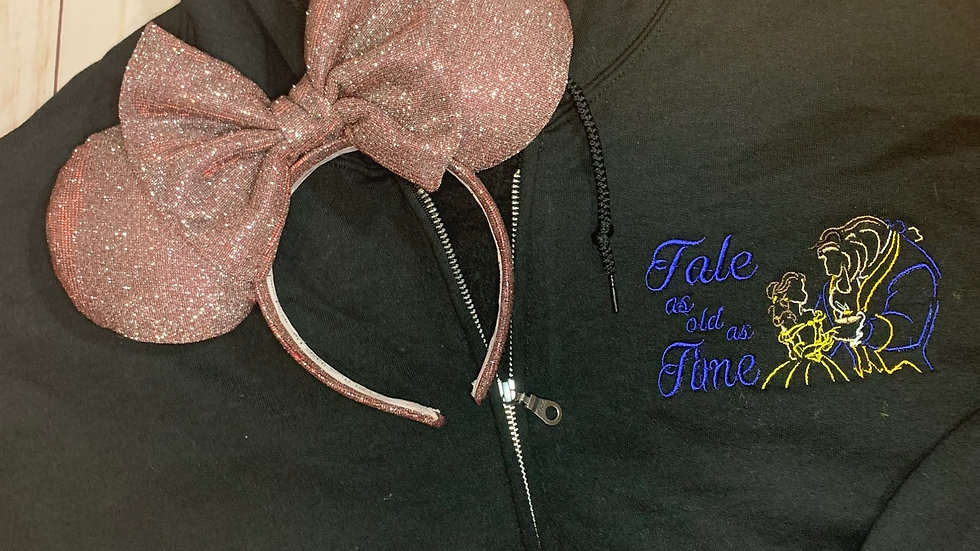 Tale as old as time embroidered zip up hoodie