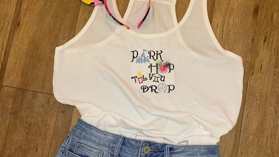 Park Hop Til you Drop WDW embroidered t-shirt or tan