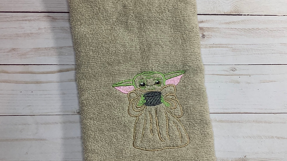 Baby Yoda with Soup Cup towels, makeup bag, tote bag, blank