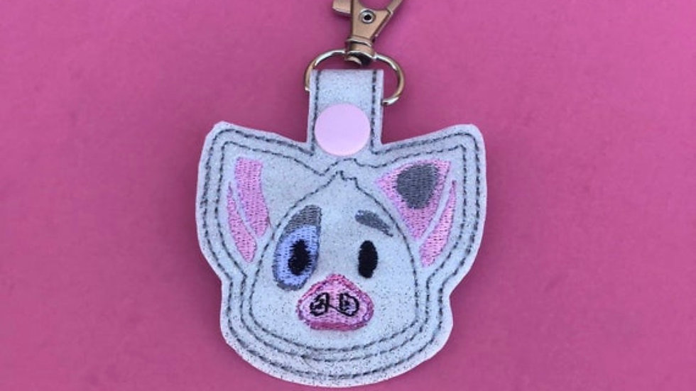 Pua pig embroidered keychain