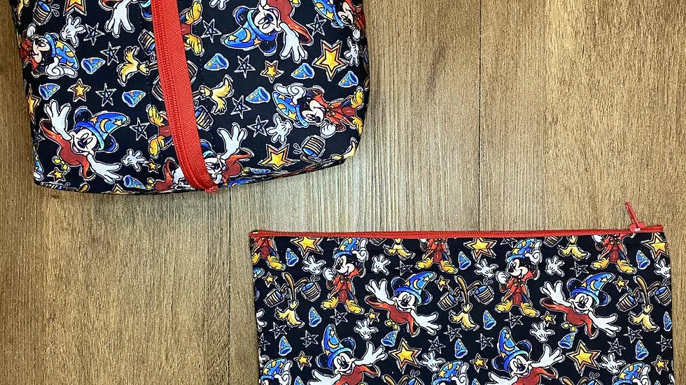 Sorcerer Mickey boxy bag or makeup bag