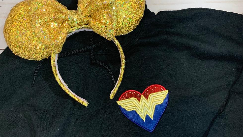 Wonder Woman Heart embroidered hoodie, pullover, 1/4 zip