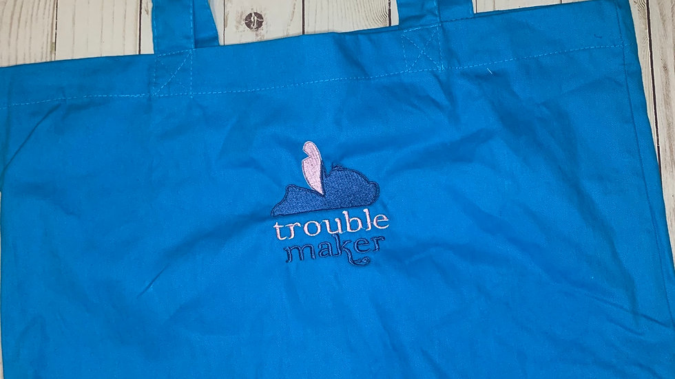 Stitch Trouble Maker Large Canvas tote