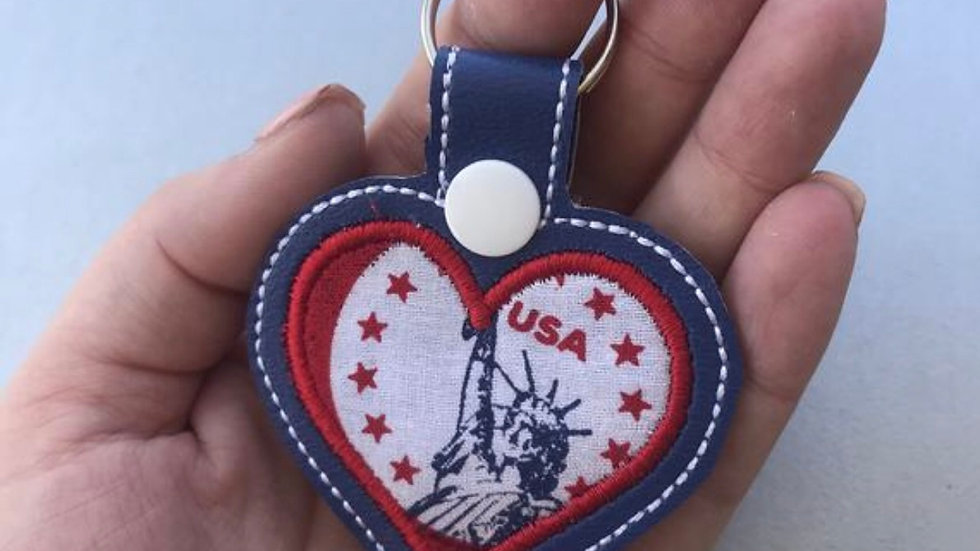 Patriotic applique embroidered keychain