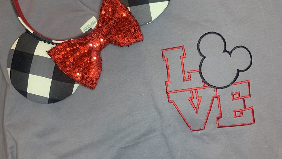 Mickey Love embroidered t-shirt or tank Top