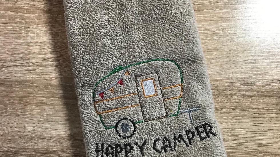 Happy Camper embroidered towel, blanket, makeup bag, tote bag