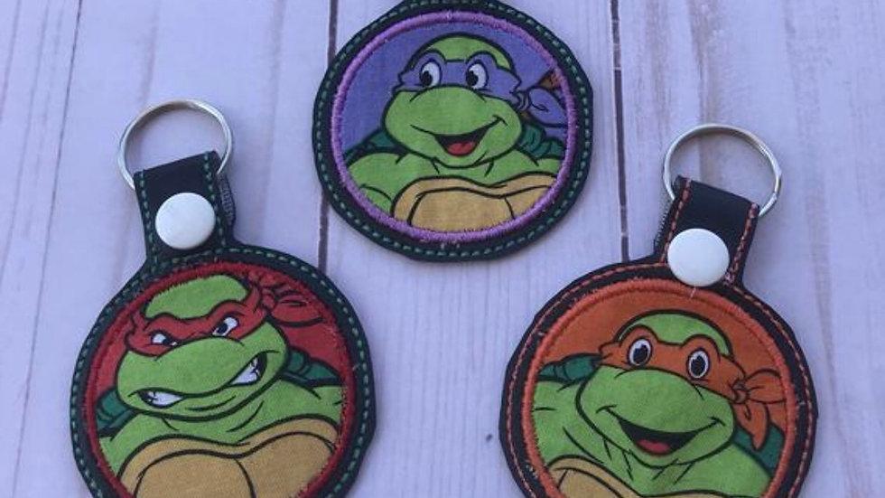 Ninja turtle applique embroidered keychain