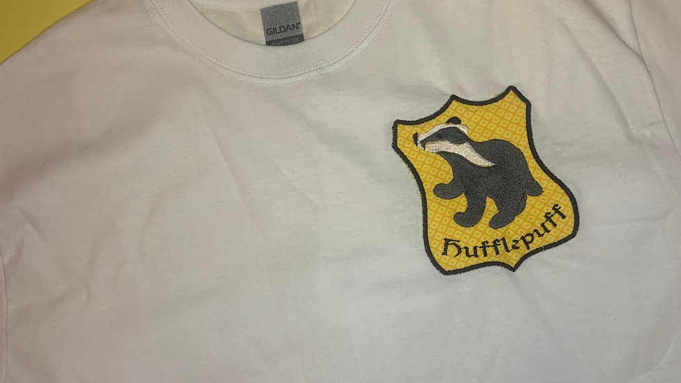 Hufflepuff House Crest embroidered t-shirt or tan
