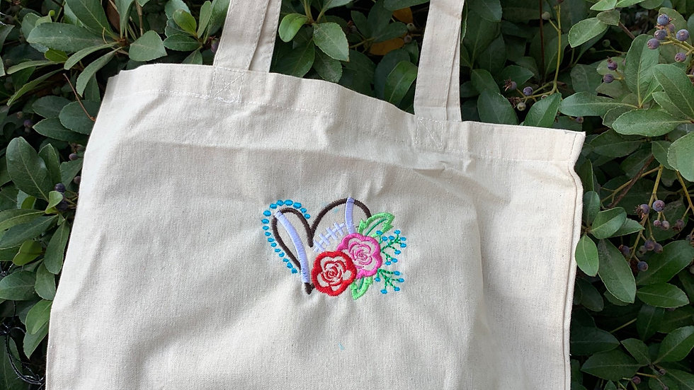 Floral football embroidered market tote
