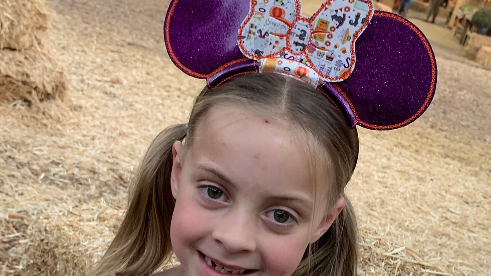 Purple glitter ears with witch and pumpkin bow - Headband not incl