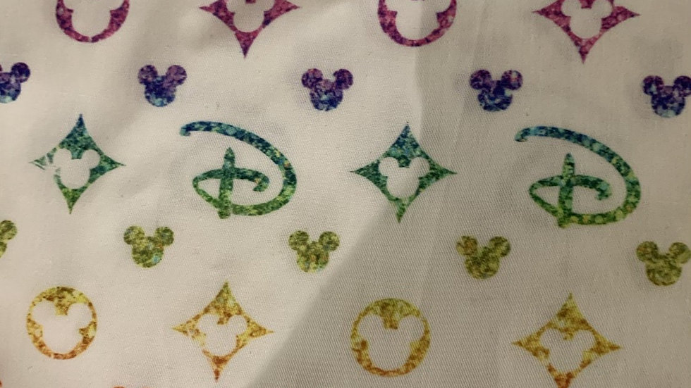Disney Rainbow Designer on white boxy bag or makeup bag
