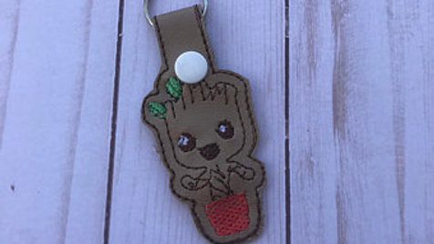 Baby Groot embroidered keychain