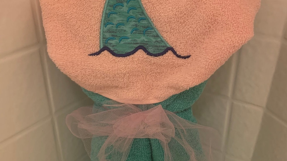 Mermaid Tail embroidered hooded towel