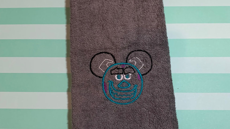 Sully Mouse embroidered towels, blanket, makeup bag