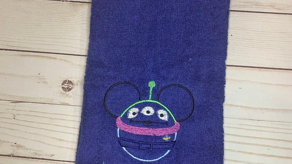 Alien Mouse embroidered towels, blanket, makeup bag