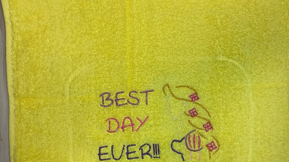 Best Day Ever Rapunzel towels, makeup bag, tote bag, blanket or towels