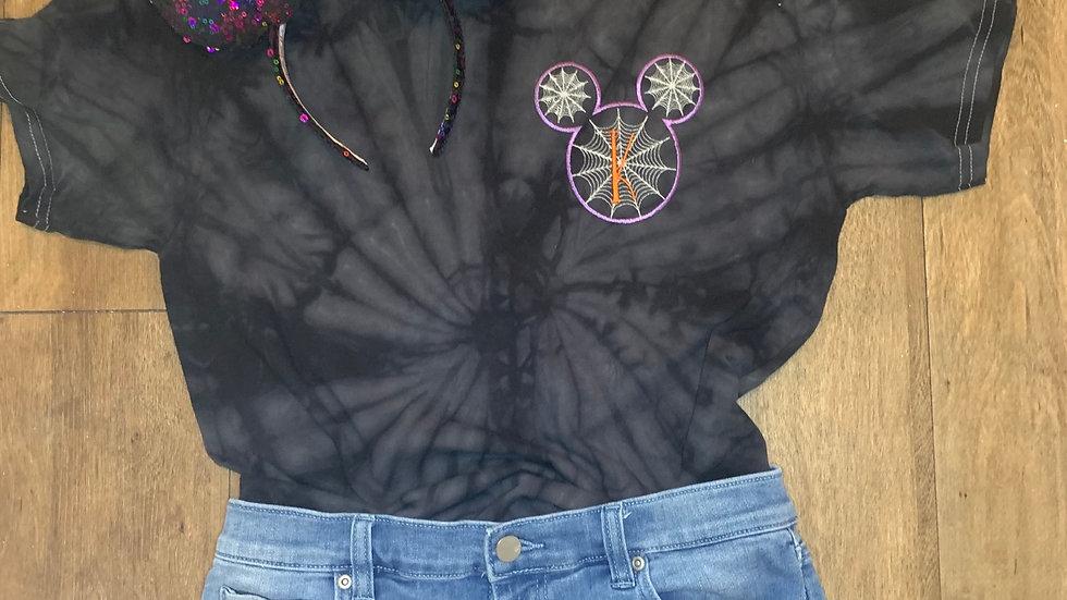 Monogram Mickey Spiderweb embroidered Tie Dye Tee