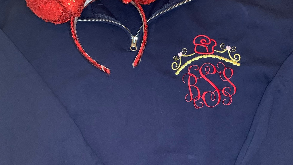 Belle Inspired Monogram embroidered hoodie, pullover, 1/4 zip