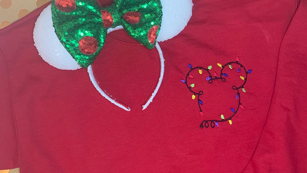 Mickey's christmas lights embroidered hoodie, pullover, 1/4 zip