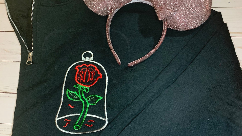 Enchanted Rose Monogram embroidered hoodie, pullover, 1/4 zip