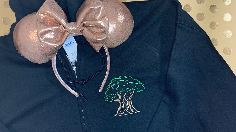 Tree of Life embroidered zip up hoodie