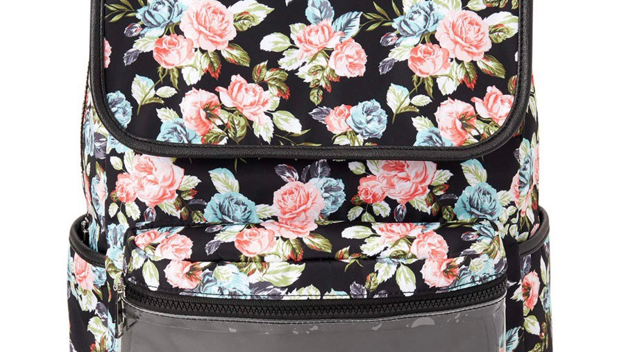 Monogram embroidered flap backpack