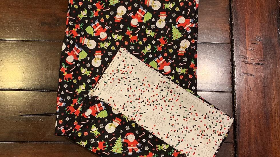 Santa and snow man standard pillowcase set - Free name embroiodery