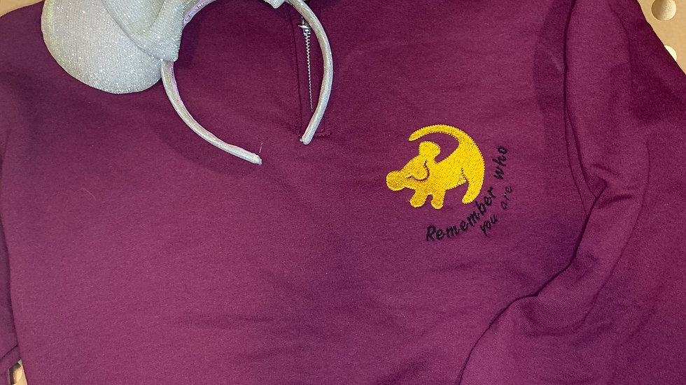 Lion King - Remember who you are embroidered hoodie, pullover, 1/4 zip