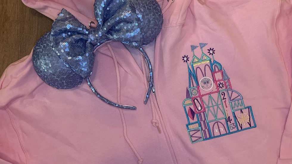 It's a Small World embroidered zip up hoodie