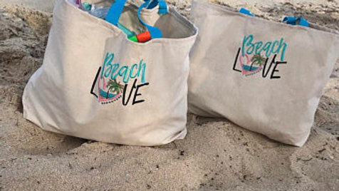 Beach Love embroidered Canvas tote bag