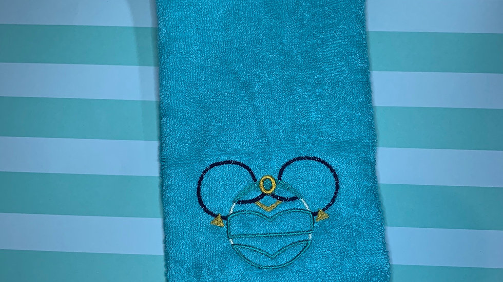 Jasmine Mouse embroidered towels, blanket, makeup bag