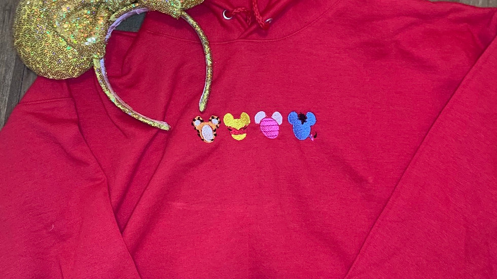 Pooh and Friends embroidered hoodie, pullover, 1/4 zip