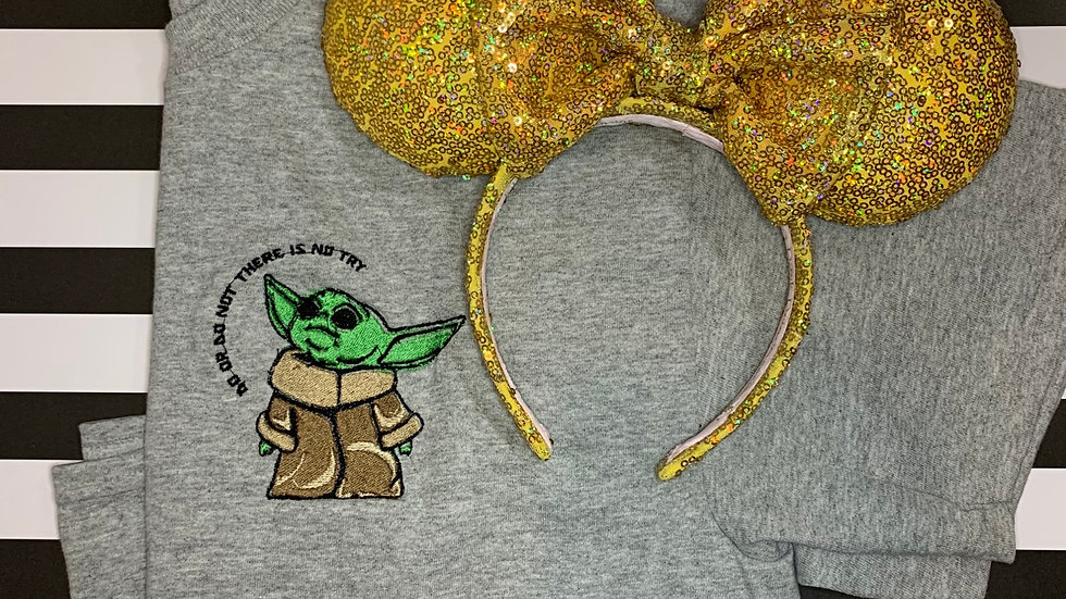 Do or do not there is no try Baby Yoda embroidered T-Shirt or tank top