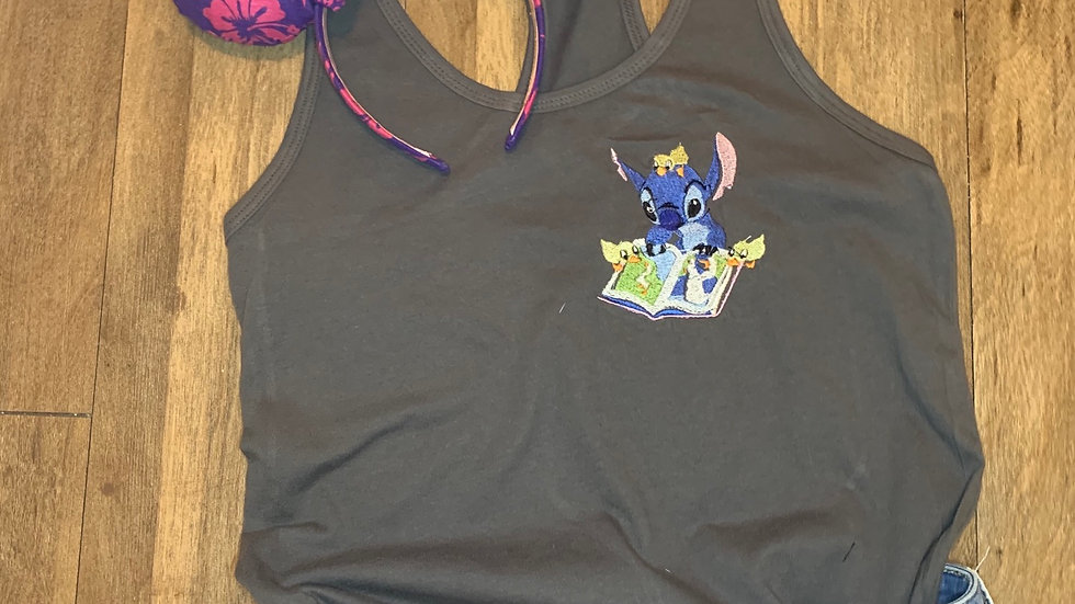 Stitch with the Duckies embroidered t-shirt or tank