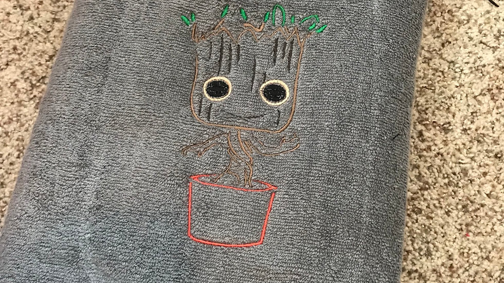 Baby groot embroidered towel, blanket, makeup bag, tote bag - Name embroidery av