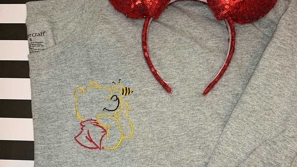 Pooh Bear with Bee embroidered spirit jersey