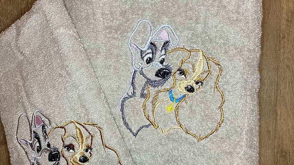 Lady and the Tramp towels, makeup bag, tote
