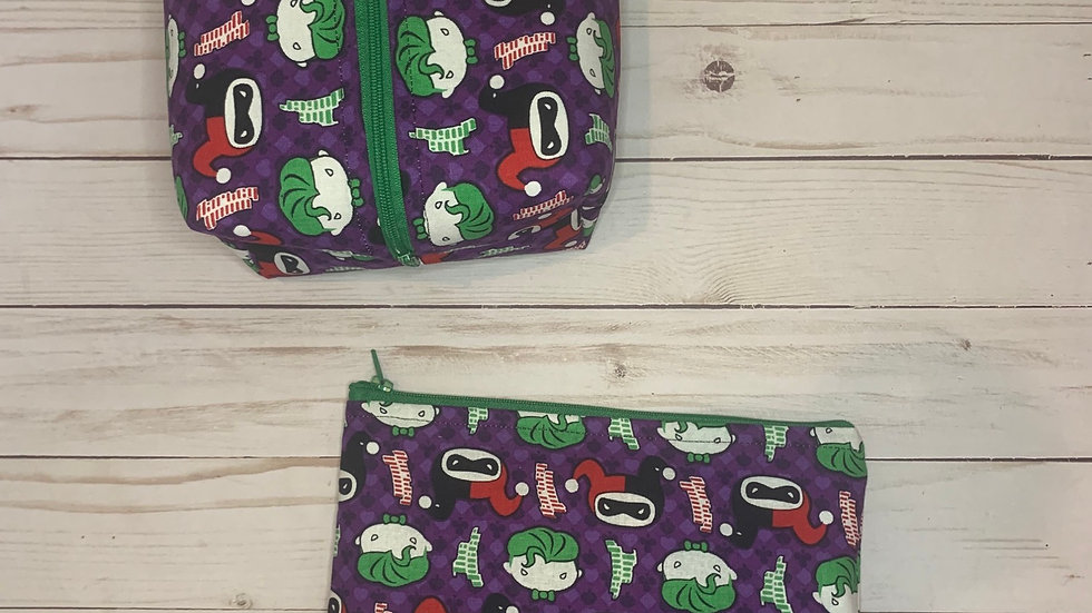 Joker and Harley Quinn boxy bag or makeup bag