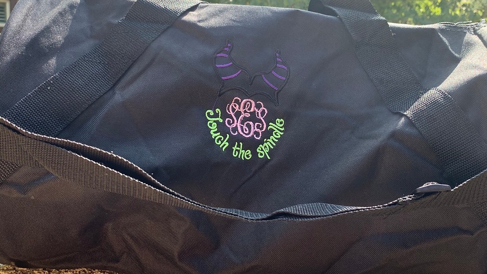 Malificent- Touch the spindle monogram embroidered duffel bag
