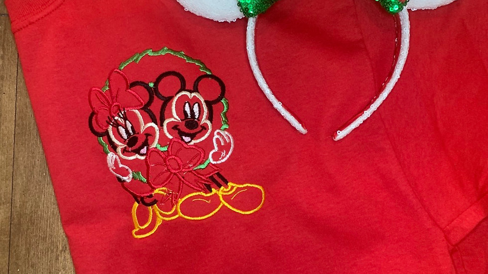 Minnie and Mickey in Wreath embroidered t-shirt or tank