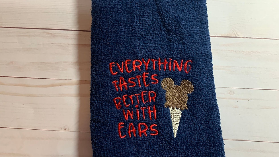 Everything is better with ears embroidered towels, blanket, makeup bag