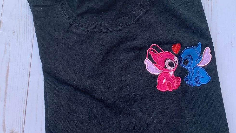 Stitch and angel love embroidered T-Shirt or Tank top