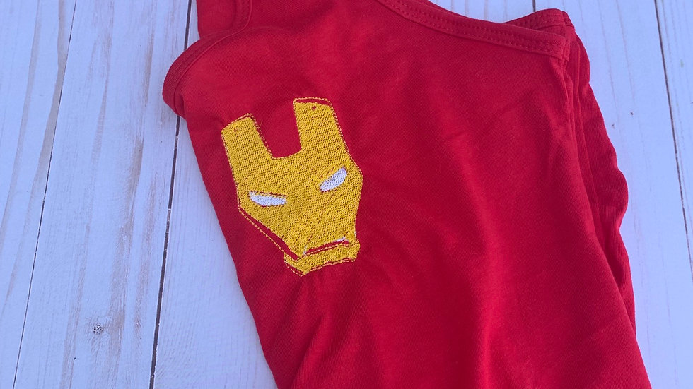 Iron man mask embroidered t-shirt or tank top