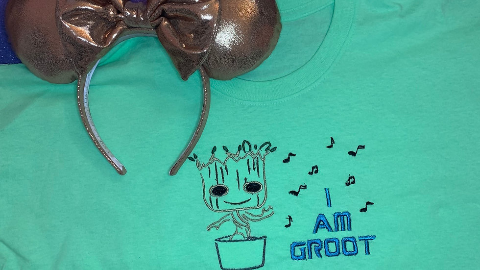 I am Groot embroidered t-shirt or tan