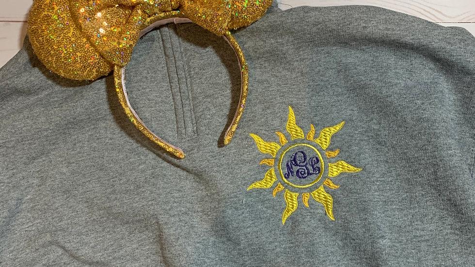 Rapunzel sun monogram embroidered hoodie, pullover, 1/4 zip