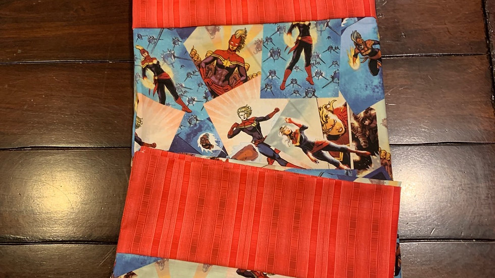 Captain Marvel standard pillowcase set -Free name embroidery