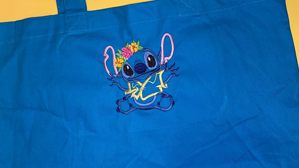 Floral Stitch Large Canvas tote
