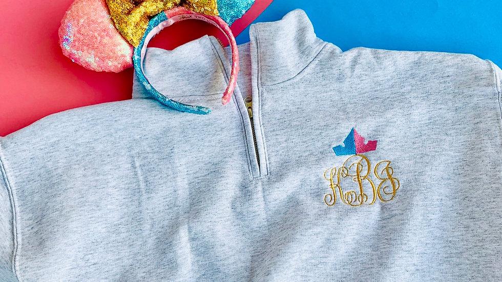 Make it Pink Make it blue -Princess aurora monogram pullover, hoodie, 1/4 zip